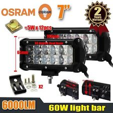 2x 7Inch 60W OSRAM Led Light Bar Flood Beam Work Light 4WD Off-road Driving Lamp