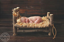 Newborn Baby Log Bed Photo Portrait Photography Prop WITH Faux Fur Throw