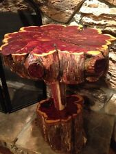 Rustic Live Edge Eastern Red Cedar Log Display Table Furniture-Free Form #129-5