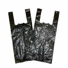 "Strong Plastic Carrier Bags Black 11x17x21"" Vest x 1000"