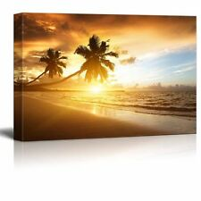 "Canvas Prints - Sunset on the Beach with Palm Trees of Caribbean Sea- 12"" x 18"""