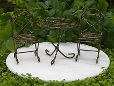 Miniature Dollhouse FAIRY GARDEN ~ Antiqued Metal Bistro Table & Chairs ~ NEW
