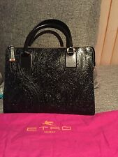 ETRO HANDBAG BLACK PAISLEY EMBOSSED LEATHER.   A STUNNING WORK OF ART