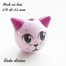 Perle en bois de 25 mm, Perle 3D Tête de chat : Rose clair