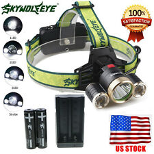 10000LM 3Head XM-L T6 LED Headlamp Headlight 4 Modes Torch FlashLight Lamp Light