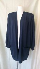 ST. JOHN BASICS NAVY BLUE SANTANA KNIT CLASSIC LONG CARDIGAN SWEATER JACKET SZ M