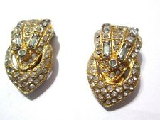 PAIR OF VINTAGE ART DECO CARVED GOLD TONE RHINESTONE FANCY DRESS CLIPS VINTAGE