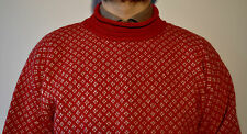 ACT Wool Norwegian Pattern Red Jumper Norway 38 Small Sweater Nordic Fisherman S