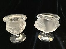 Pair signed Lalique France art glass  Tete de Lion candle vases urns 3 3/4""