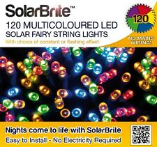 Solar Brite Deluxe Fairy Lights 120 Multi LED String Weather Proof / Rainsafe