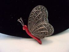 Judith Jack Butterfly Insect Marcasite Red Enamel Sterling Silver Pin Brooch