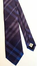 New Authentic Burberry London Nova Check Men Tie Haymarket Navy Blue Slim $165