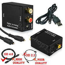 Digital Coax Optical Coaxial Toslink to Analog RCA L/R Audio Adapter Converter #