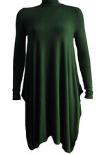 Women's Ladies Polo Neck Turtle Neck Long Sleeve Flared Swing Skater Dress 8-26