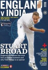 * 2014 - ENGLAND v INDIA - FULL SET OF CRICKET PROGRAMMES FROM ALL 5 TESTS *