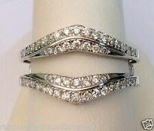 14k White Gold Pave Set Solitaire Enhancer 1/2ct Diamond Ring Guard Wrap Jacket