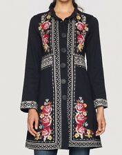 $300 JOHNNY WAS EMBROIDERED JOY MILITARY COAT JACKET BLACK FLORAL plus SZ 1X NWT