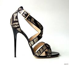 new $850 JIMMY CHOO Xenia black/silver glitter opentoe strappy heels shoes 41 11