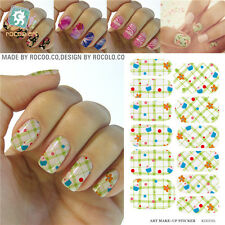 12x Nail Art Full Wrap Water Transfer Decals Stickers Set Plaid Gingham KG019A