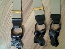"""BROWN MENS BRACES WITH BLACK LEATHER ENDS 1.4"""" WIDE MADE IN ENGLAND"""