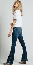 Rare Free People Anthropologie Skyler Seamed Moto Side Buttons Flare Jeans 24