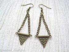 *AZTEC PATTERN TRIANGLE* Antique Gold Chain Drop Bronze Earrings Bunting Flag