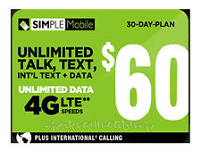 Simple Mobile $60 Preloaded Dual Nano Sim Card 1st Month Included Unactivated