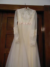 VINTAGE SIZE 10 WEDDING GOWN AND VEIL PINK SATIN RIBBON PEARL SEQUIN ACCENTS