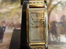 SERVICED 1930`s BULOVA  *THE PRESIDENT * SUPER LONG STEPPED & ETCHED CASE