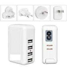 4 Ports USB Multi Adapter Travel AC Charger with UK/EU/US/AU Plug S6 S5 S4 White