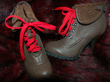 New Sz 6 Chocolate Brown Faux leather Fur Cuff Red Lace High Heel Boots