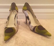MUI MUI Fabric Leather Brown Green Vintage Print Pointed Toe Heels 6.5 Italy
