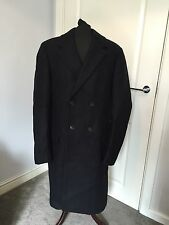 Men's All Saints Ink Navy Blue Double Breast Wool Okita Coat Jacket Size 40