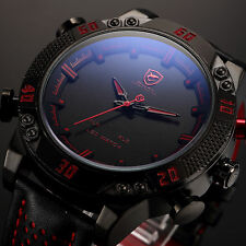 SHARK Fashion RED LED Day Date Analog Leather Quartz Men's Military Sport Watch