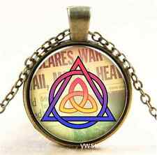Celtic triquetra heart Glass Bronze Pendant Necklace for men woman jewelry NEW