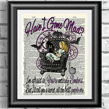Dictionary book page print Alice in wonderland gothic dark steampunk wall decor