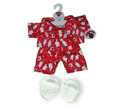 Teddy Bear Clothes fits Build a Bear Red Sheep Pyjamas Slippers Teddies Clothing