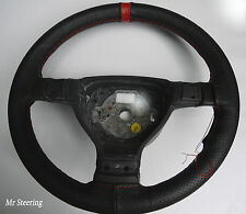 FOR SUZUKI SWIFT MK3 BLACK PERFORATED LEATHER STEERING WHEEL COVER RED STRAP