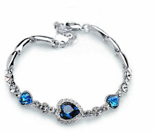 Charm Women Ocean Heart Blue Crystal Rhinestone Bangle Bracelet Gift Hot