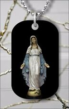 VIRGEN MARY HOLY JESUS MOTHER DOG TAG PENDANT NECKLACE FREE CHAIN -kij7Z