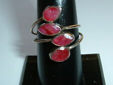 4 cabachon ruby stones set in 925 silver. Size T