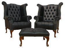 2 x Chesterfield Queen Anne Buttoned Seat High Back Wing Chairs Black Leather