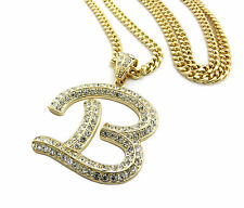 Cuban Chain Hip Hop Iced Out Letter B Initial Alphabet Pendant Crystal Gold Boss