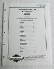 Briggs & Stratton Engines Illustrated Parts List Model Series 303700 USA Manual