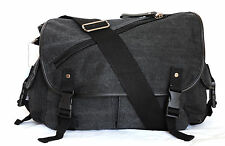 Black Messenger Canvas Bag Multi Pockets Shoulder Carry Wide Strap