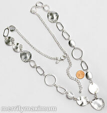 Chico's Signed Necklace Beautiful Long Silver Tone Chunky Station Chain Crystals
