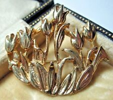 GORGEOUS VINTAGE JEWELLERY GOLD TONE TULIP ART NOUVEAU FLOWERS BROOCH PIN