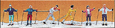 HO Preiser 10312 Cross Country Skiers WINTER FIGURES ( Color # 1 )