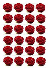 24 Edible cake toppers decorations Dark red rose wafer rice paper