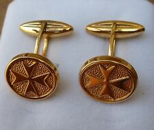 neuf plaqué or boutons de manchette ovales croix de malte style baril